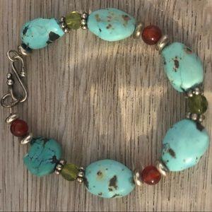 Antique Navajo Silver Genuine Turquoise Bracelet